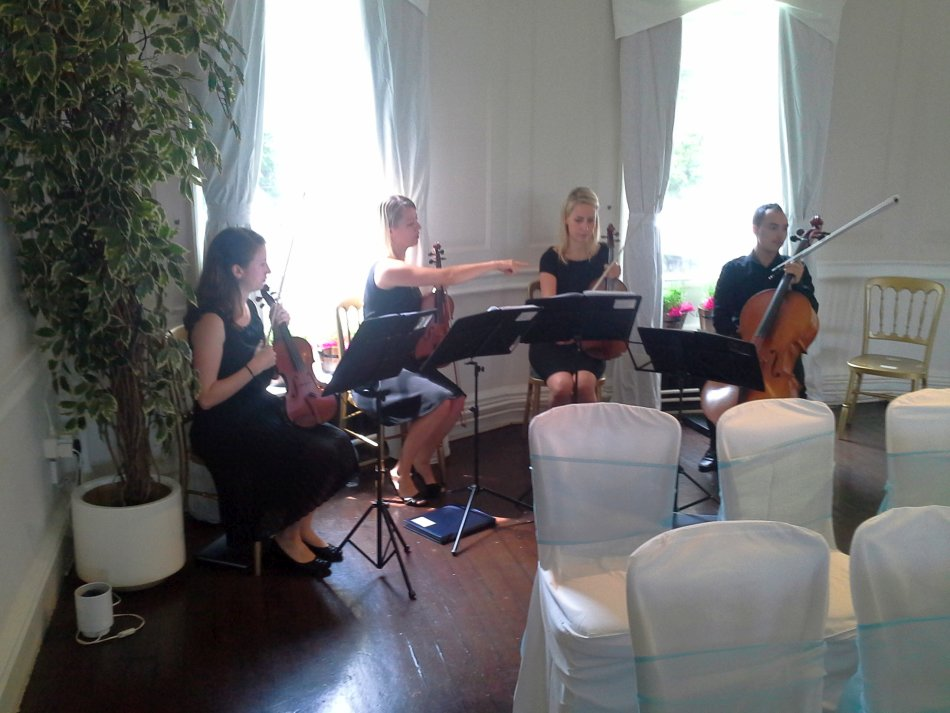 Winchester House Wedding String Band Setting Up