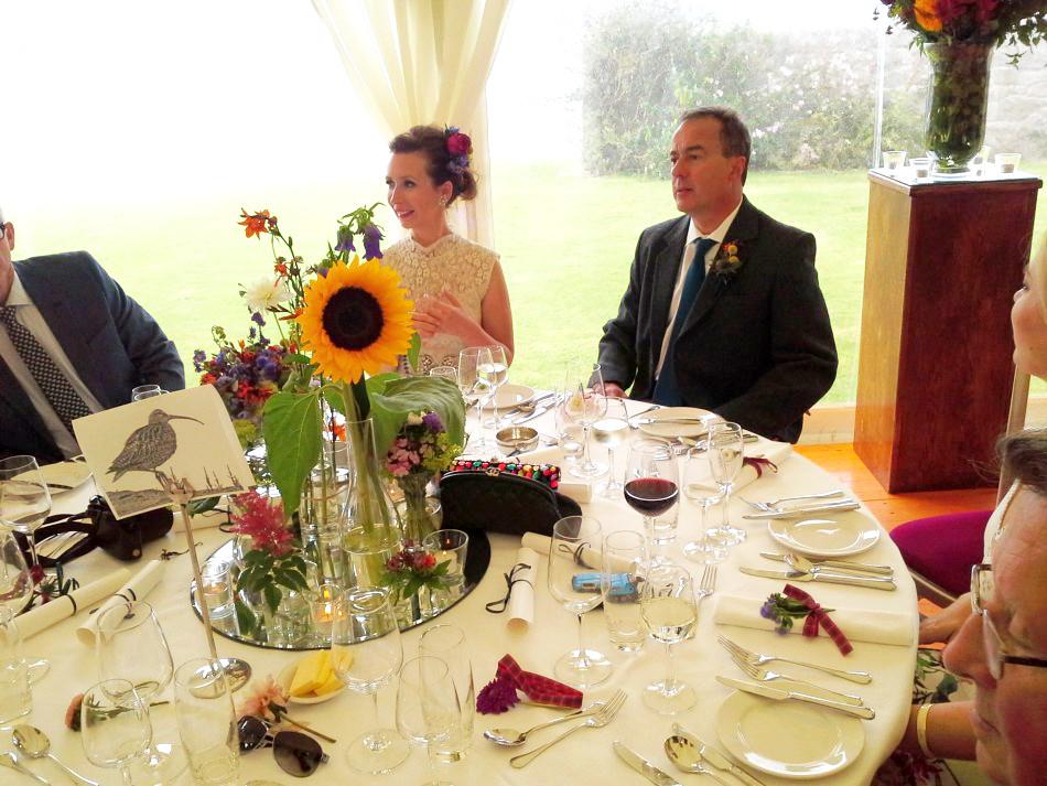 Bride and Groom at Scottish Wedding Bride wearing Dior