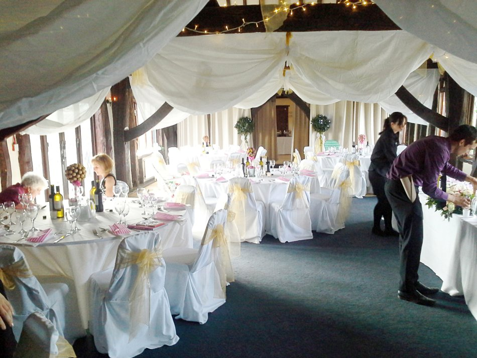 Neil and Caz's Wedding decorated tables 3