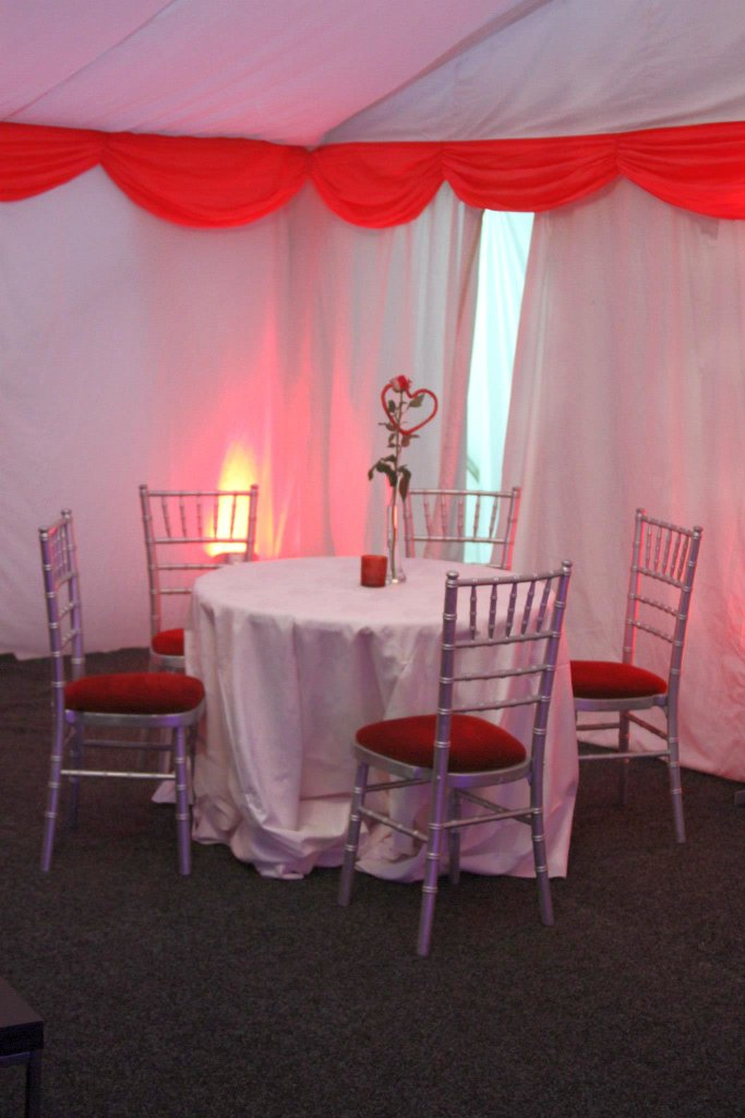 Beautiful tables inside the tent